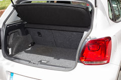 Car trunk. Trunk open and clean car to enter luggage Royalty Free Stock Images