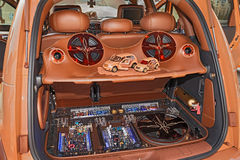Car trunk with power music audio system Stock Photos