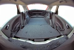 Car trunk with rear seats folded Royalty Free Stock Images