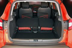 Car trunk with rear seats folded Royalty Free Stock Photography
