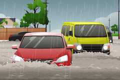 Car Trying to Drive Against Flood. A vector illustration of car trying to drive against flood on the street Stock Photos