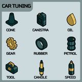 Car tuning color outline isometric icons. Vector illustration, EPS 10 Stock Photo