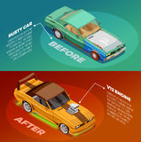 Car Tuning 2 Isometric Banners Set Royalty Free Stock Photo