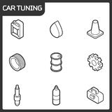 Car tuning outline isometric icons. Vector illustration, EPS 10 Royalty Free Stock Images