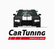 Car tuning shop vector banner, sticker, auto service centre logo Royalty Free Stock Photos