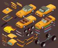 Car Tuning Snyling Parts Isometric Set stock illustration