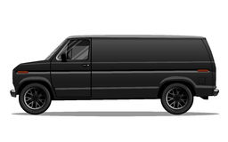 Car tunning. Matte black van. Detailed vector illustration. Royalty Free Stock Photography