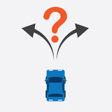 Car Turn Unsure. Top of car unsure where to turn Royalty Free Stock Photography