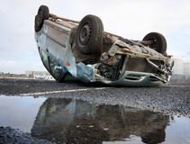 Car turned upside-down Stock Images