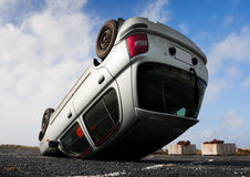 Car turned upside-down Stock Photo