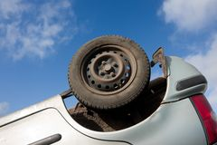 Car turned upside-down, detail Stock Images