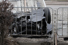 Car turned upside-down Royalty Free Stock Image