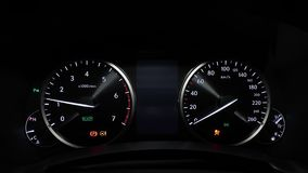 Car dashboard turning on. Car turning on dashboard view stock footage