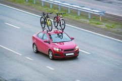 Car with two bicycles Stock Photography