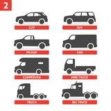 Car Type and Model Objects icons Set, automobile. Vector black illustration  on white background with shadow. Variants of car body silhouette for web Royalty Free Stock Photo