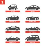 Car Type and Model Objects icons Set, automobile. Vector black illustration  on white background with shadow. Variants of car body silhouette for web Stock Photos