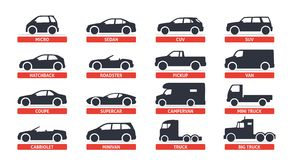 Car Type and Model Objects icons Set, automobile. Vector black illustration on white background with shadow. Variants of. Car body silhouette for web royalty free illustration