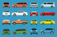 Car type model vehicle objects icons set multicolor automobile supercar. Wheel symbol car types coupe hatchback. Traffic. Car type and model objects icons set stock illustration