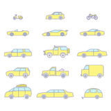 Car types outline icons set. Car types outline icons vector color set. 15 items Stock Photos