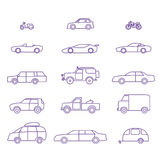 Car types outline icons set. Car types outline icons vector set. 15 items Stock Image