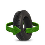 Car tyre. Concept with green arrows from the grass. Recycling concept. Isolation on white. Royalty Free Stock Image