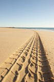 Car Tyre track on sandy beach Royalty Free Stock Photography