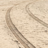Car tyre tracks on the beach sand Royalty Free Stock Photography
