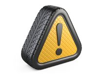 From car tyre warning attention sign with exclamation mark symbo. L. 3d illustration isolated on white background Royalty Free Stock Photos