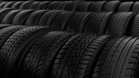 Car tyre wheels storage night black light stock video footage