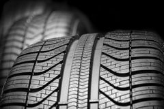 Car tyres profile close up Royalty Free Stock Image