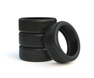 Car tyres stack. 3d render of car tyres stack isolated on white background Royalty Free Stock Photos