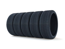 Car tyres stack. 3d render of car tyres stack  on white background Stock Photo