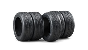 Car tyres stack  on white background. 3d render of car tyres stack  on white background Stock Photography