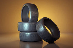 Car tyres. Tires  on the warm background Royalty Free Stock Image