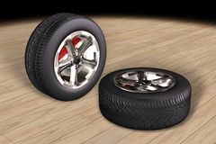 Car tyres (wheels) Stock Images