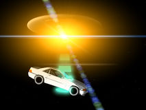 Car And UFO 66. A car that is being adducted by a UFO with a glowing beam Stock Images