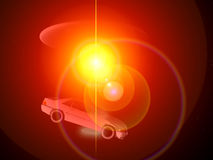 Car And UFO 68. A car that is being adducted by a UFO with a glowing beam Stock Photography