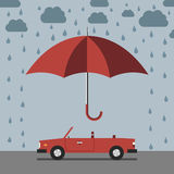 Car, umbrella and rain Royalty Free Stock Photos