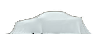 Car under cloth, side view, with clipping path Royalty Free Stock Images