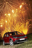 Car under fireworks Stock Photos