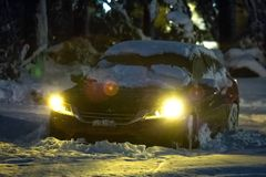Car under heavy snow after snow storm winter. Hurricane stock photography