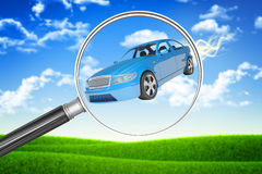 Car under loupe Stock Photos