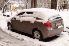 Car under snow. One car under the snow Royalty Free Stock Image