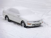 Car under the snow Stock Photo