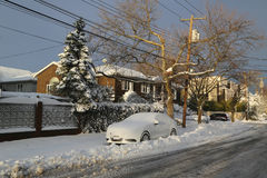 Car under snow in Brooklyn after massive Winter Storm Royalty Free Stock Image