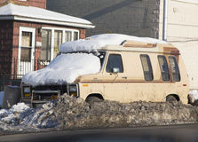 Car under snow in Brooklyn after massive winter storms Stock Photography