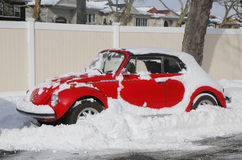 Car under snow in Brooklyn, NY after massive Winter Storm Juno strikes Northeast. Stock Images