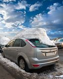 Car under the snow cap Royalty Free Stock Photography