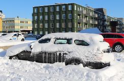 Car under snow and ice Stock Photo
