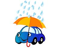 Car under umbrella Stock Photos